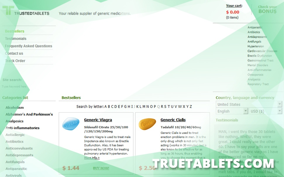 Truetablets.com Review - After Forceful Shutdown This Online Pharmacy Moved to a New Domain