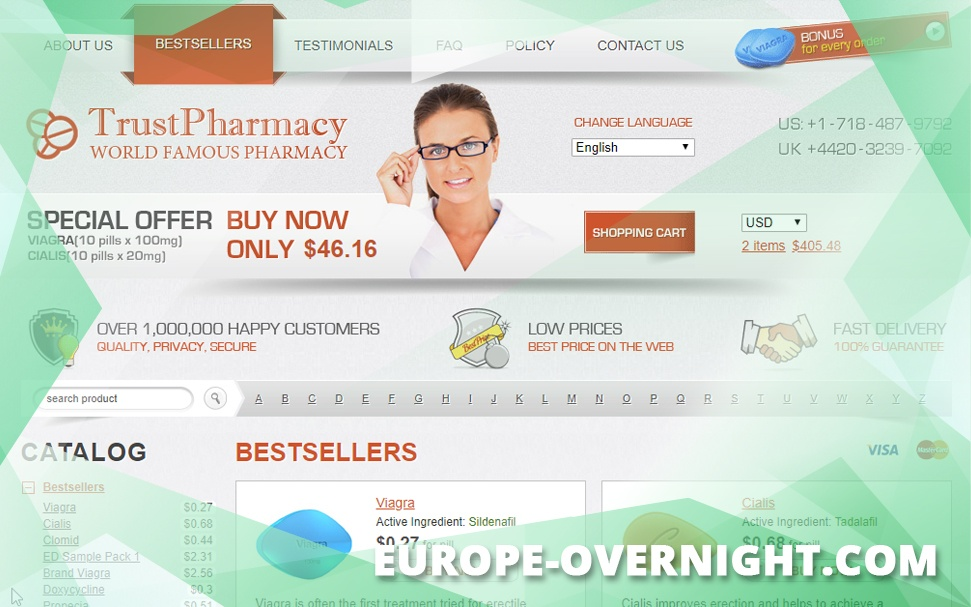 Europe-Overnight.Com Review – A Cheap Drugstore with A Huge Catalog but not Reliable Testimonials