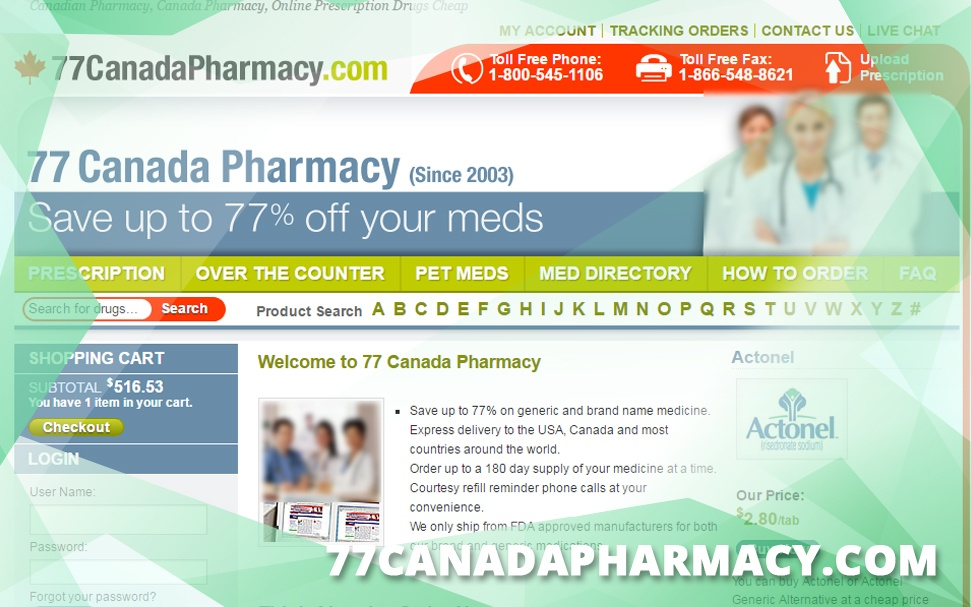 77canadapharmacy.com Review - Offered 7000 Prescription Medicines
