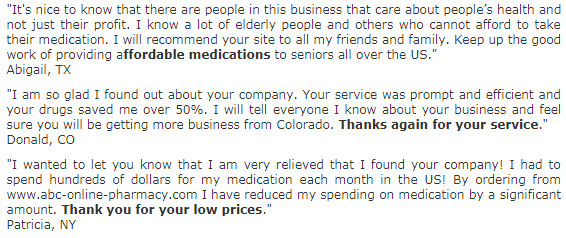 ABC Online Pharmacy User Reviews